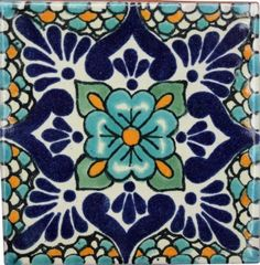 Talavera Ceramic Mexican Tile (pinned for pattern design) planning to paint this on an area of concrete in front of my fireplace.