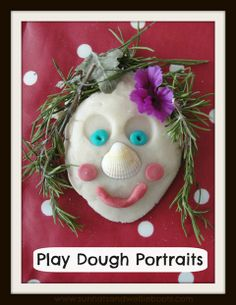 Play Dough Portraits: I set out this selection of materials that could be used to represent facial features, hair, etc, & added our homemade play dough.