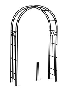 At almost high, our garden arch with gate is ideal for climbing roses, clematis and flowering vines. Made from powder-coated, steel tubing. Wrought Iron Trellis, Metal Trellis, Wrought Iron Fences, Delphinium Plant, Vine Fence, Deer Fence, Arch Gate, Fence Gate, Metal Garden Fencing