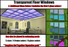 Transparent Dance floor from the Get Together EP made into a floor window. Removed dance options. Contains 4 additional colors.