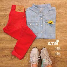 ❤️ vermelho de amor  azul de viver #lojaamei #jeans #calcajeans #camisajeans #alljeans #look #amamosjeans