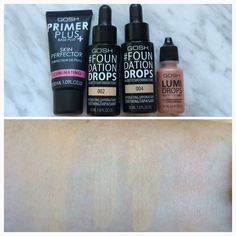 Gosh Primer Plus Skin Perfector, Foundation Drops in Ivory and Natural, Lumi Drops in Peach