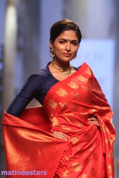 Models Walks For Santosh Parekh At Lakme Fashion Week Winter Festive 2016 - Hot Models Photo Gallery - High Resolution Pictures 14 Blouse Patterns, Saree Blouse Designs, Traditional Sarees, Traditional Outfits, Indian Attire, Indian Wear, Indian Dresses, Indian Outfits, Indian Look