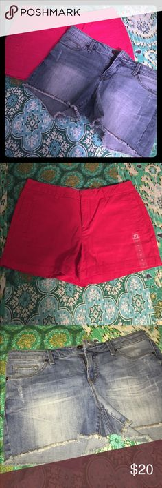NWT 2 pairs of shorts 2 pairs of shorts both new with tags from JC Penny. Red pair is chino style and 100% cotton. Denim shorts are cutoff style and are 98% cotton,2% spandex.  Will separate if requested. jcpenney Shorts