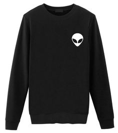 Smoking a Doob Alien Sweatshirt. Tumblr Sweatshirts, Retro Sweatshirts, Comfy Hoodies, Hipster Outfits, Cute Outfits, Rock Outfits, Emo Outfits, Alien Sweatshirt, Skull Sweater