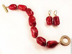 Браслет и серьги из красного коралла RED&GOLD – купить в интернет-магазине на Ярмарке Мастеров с доставкой