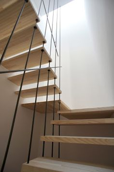 stairs hung on steel rods