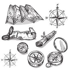 Set of hand drawn compasses and maps vector sketches - by kamenuka on VectorStock®