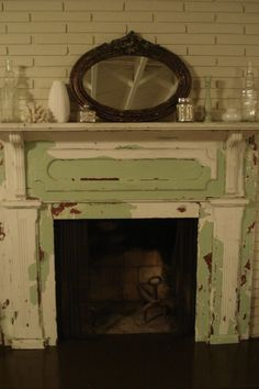 the cottage mantle in chippy green is in a room in my cottage