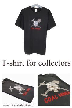 T-shirt for collectors Coal Miners, Machine Embroidery, T Shirts For Women, Accessories, Collection, Black, Tops, Fashion, Dark Around Eyes