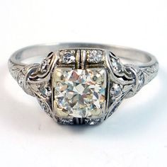 Antique Platinum Edwardian Art Deco Diamond Filigree Engagement Ring