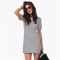 Black and White Striped Casual T-shirt Dress Hot Summer Sale