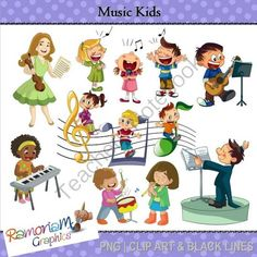 Music Kids Clipart from RamonaM Graphics on TeachersNotebook.com -  (30 pages)  - This set contains 11 multicultural and unique children involved in a musical activity and a teacher! Each image is PNG and 300dpi in Black & White, colored with colored outlines and colored with black