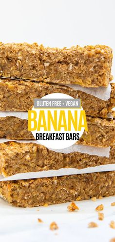 Perfect healthy breakfast or snack for on the go. Breakfast Bars Healthy, Gluten Free Recipes For Breakfast, Banana Breakfast, Allergy Free Recipes, Gluten Free Breakfasts, Vegan Recipes Easy, Healthy Snack Bars, Sweet Recipes, Sin Gluten
