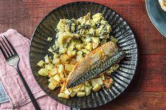 Gebakken makreel met stamppot van postelein, venkel en citroen