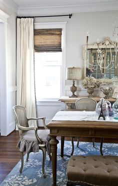 Curtains And Dealing With Problem Windows Farmhouse CurtainsFarmhouse Dining RoomsFrench