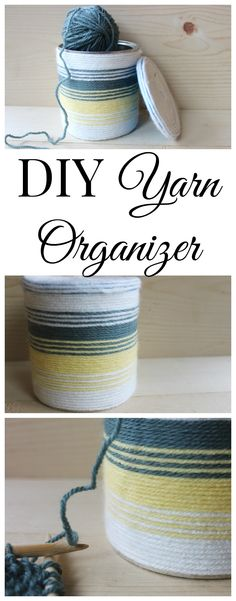 DIY Yarn organizer.  A quick and easy craft to make to help you keep your yarn from getting tangled up!  Perfect for keeping it safe from small hands or paws ;)
