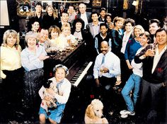Raise your glass ... the original cast of EastEnders celebrating Albert Square's first Christmas