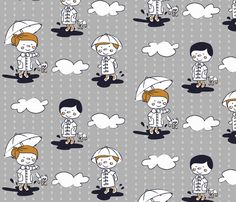 golly galoshes fabric by molipop on Spoonflower - custom fabric Custom Fabric, Spoonflower, Gift Wrapping, My Design, My Etsy Shop, Snoopy, Wallpaper, Pattern, Prints