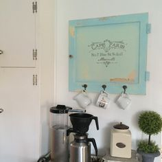 Cafe Paris Sign Old Cabinet Door with Coat Hooks Kitchen Coffee Wall Hanging Sign - Hallstrom Home