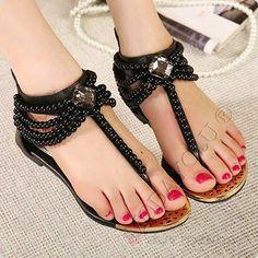 Summer Fashion Beaded Flat Sandals SF-1002 White Black Shoes* Markakom