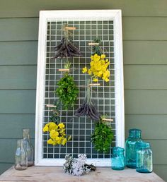 Great DIY Tutorial for a Picture Frame Herb & Flower Drying Rack!!!
