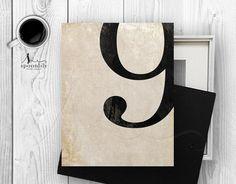 9 Number Nine Art Print Numerology Vintage Number by SpoonLily