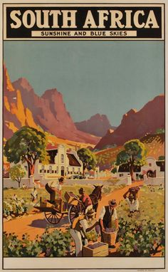 South Africa, sunshine and blue skies ~ Charles Peers Party Vintage, Tourism Poster, Vintage Travel Posters, Grafik Design, Africa Travel, Poster Prints, Illustrations, Adventure, Blue Skies