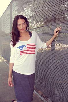 SMU Flag Dolman - American Apparel White Viscose Shirt