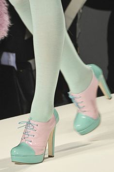 pastel Spectators shoes with matching pastel stockings