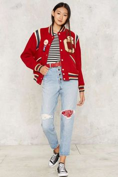 Vintage Letterman Down Easy Jacket - Jackets + Coats