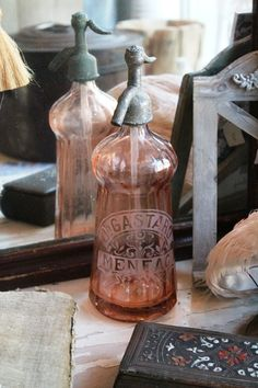 Shabby chic soap holder. Love the pink depression glass!