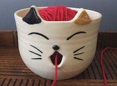 Large Super Cute Calico Cat Yarn Bowl by misunrie