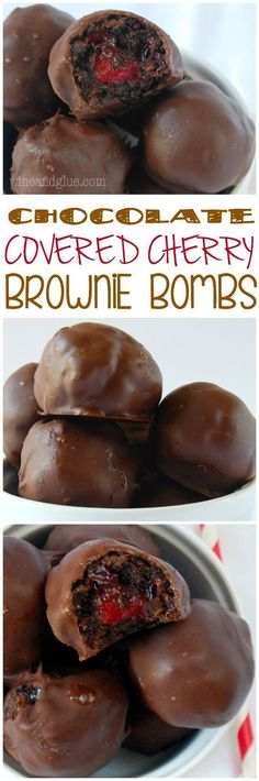 Chocolate Covered Cherry Brownie Bombs ~ Delicious bites of brownie surrounding cherry pie filling and then dipped in chocolate! Candy Recipes, Brownie Recipes, Sweet Recipes, Baking Recipes, Holiday Recipes, Cookie Recipes, Dessert Recipes, Salad Recipes, Just Desserts