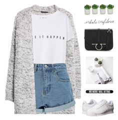 """//w h i t e s n e a k e r s//"" by lion-smile ❤ liked on Polyvore featuring MANGO, Boohoo, adidas Originals, Bershka and Threshold"