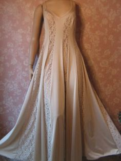 Olga Nightgown Vintage Lace Inset Vertical Small Full Sweep 70s 9848