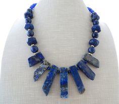 Lapis lazuli necklace spike necklace blue gemstone necklace