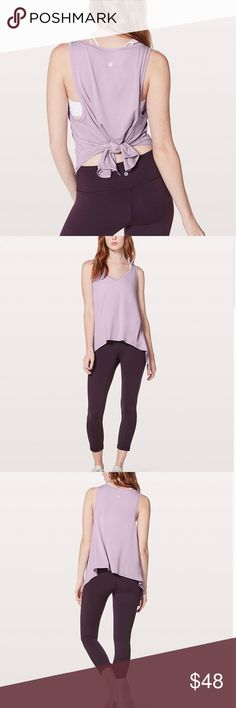 NEW LULULEMON HEATHERED LILAC QUARTZ TANK  LULULEMON TANK NEW WITH TAG!  SUPER SOFT TANK WITH UNEVEN HEM & LOOSE FIT GREAT FOR LAYERING!  MAKE A KNOT AT THE FRONT/BACK TO KEEP THE TANK FOR FLIPPING UP DURING INVERSIONS...OR JUST FOR A MODERN LOOK!  THIS TOP LOOKS GOOD WITH SKIRTS, TIGHTS & CROPS, ANYTHING!  FABRIC IS FOUR-WAY STRETCH, SWEAT-WICKING, AND QUICK DRY. lululemon athletica Tops Tank Tops
