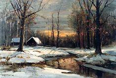 "Catskill Paintings ""Winter in Woodstock"" Oil on canvas circa 1963 Wood Paintings, Landscape Paintings, Robert Wood, Acrylic Art, Woodstock, Painting Inspiration, Barns, Wood Art, Art Work"