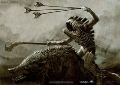 Warg Riders - The Hobbit, part I - A selection of concept design from the first installment of The Hobbit: An Unexpected Journey, Chronicles: Art and Design -  The Art of Nick Keller