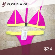 Nubia - Color Block Brazilian Bikini Set New !    Nubia Brazilian Bikini Set  Colors Available : Hot Pink/ Yellow  Size available : Large Top , Medium Bottom(28in Waist)  *Note All Measurement Are Taken Of Garments Laying Flat Without Stretching  Bundle to save 💕  Follow & tag:  Ig: shopBellaVictoria  Fb: Bella Victoria BellaVictoriaBoutique Swim Bikinis