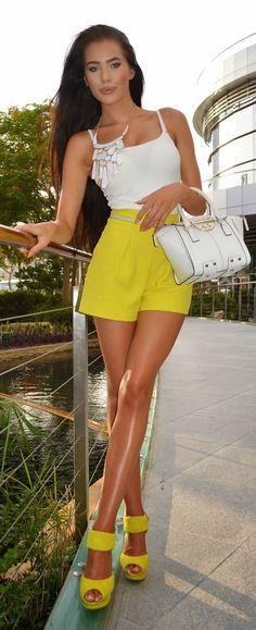 Yellow Shorts Chic Style by Laura Badura Fashion