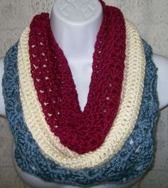 Beautiful Triple Layered Crochet Cowl in Raspberry Cream & Blueberry by shawlmaker