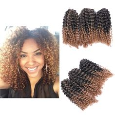 """8"""" Ombre Afro Kinky Curly Crochet Braids Marlybob Braid Hair Extensions 3pcs/set 