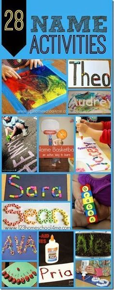 Name Activities for Kids Name Activities - LOTS of really fun, creative, and unique name activiites to help kids learn their names!Name Activities - LOTS of really fun, creative, and unique name activiites to help kids learn their names! Preschool Names, Preschool Literacy, Literacy Activities, Preschool Activities, Kindergarten Age, Daycare Names, Name Writing Activities, Toddler Learning, Fun Learning