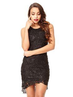 d19a8bfb1bf639 Black Dip Hem Lace Dress - Quiz Clothing