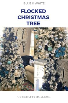Today I'm sharing my elegant flocked Christmas tree with blue and silver decorations along with 30 stunning trees. Christmas Tree Decorating Tips, Christmas Tree Toppers, Decorating Blogs, Christmas Tree Decorations, White Flocked Christmas Tree, Woodland Christmas, Holiday Tree, Rustic Christmas, Christmas 2019