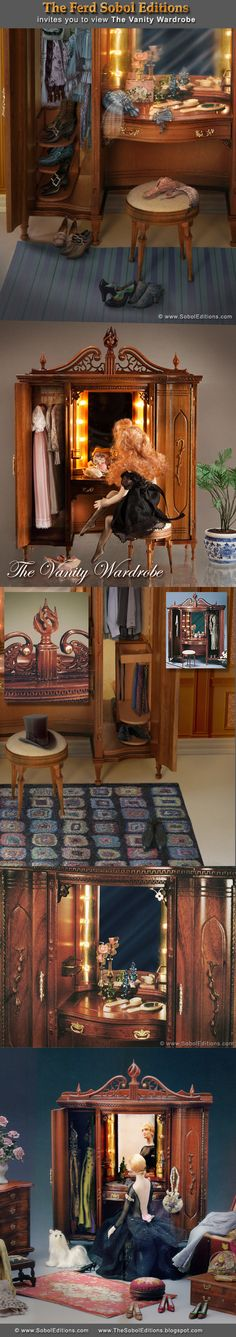 The Vanity Wardrobe from The Ferd Sobol Editions is a favorite piece of many collectors, who appreciate the open flame finial and the Greek key detailing this edition features. It is shown in some photos with Ferd's DIY projects of The Ladies Shoe Caddy and The Gentlemen's Necktie Valet. Read about building the Vanity Wardrobe at: http://thesoboleditions.blogspot.com/2013/03/Vanity-Wardrobe-Sobol-Editions25.html www.SobolEditions.com   TheSobolEditions.blogspot.com