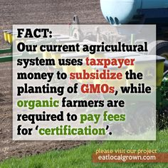 This needs to change. Come on, organic farmers! Save up your money so you too can buy a bunch of crooked fucks in Congress.