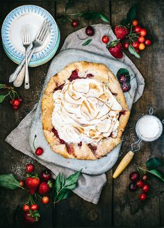 Sour Cherry Strawberry Meringue Galette